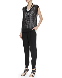 Eileen Fisher Laser-Cut Telegraph Chiffon Top, Silk Jersey Tank & Silk Ankle Pants with Cuffs