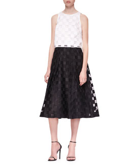 Milly Sleeveless Sheer-Block Crop Top & Sheer-Block Full Midi Skirt