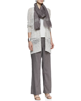 Eileen Fisher Knit Mesh Straight Cardigan, Silk Jersey Tank, Straight-Leg Trousers & Shimmery Striped Scarf