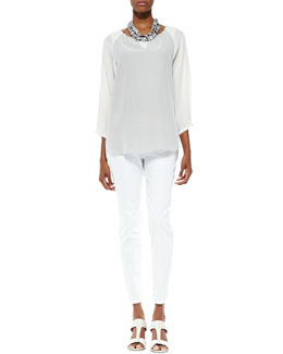Eileen Fisher 3/4-Sleeve Silk Colorblock Top, Silk Jersey Tank & Organic Skinny Ankle Jeans, Women's