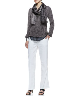 Eileen Fisher Mesh V-Neck Box Sweater Top, Printed Button-Front Shirt, Straight-Leg Trousers & Whisper Silk Scarf