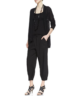 Eileen Fisher Melange Linen-Blend Cardigan, Slim Silk Tank, Drawstring-Waist Slouchy Capri Pants, Petite