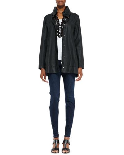 Eileen Fisher A-Line Hooded Jacket, Organic Cotton Slim Tank & Organic Soft Stretch Skinny Jeans