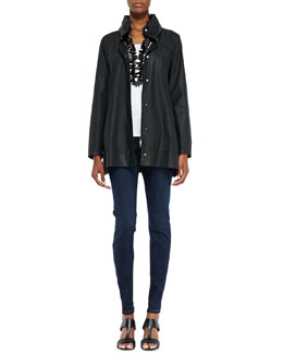 Eileen Fisher A-Line Hooded Jacket, Organic Cotton Slim Tank & Organic Soft Stretch Skinny Jeans, Women's