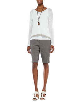 Eileen Fisher Linen Colorblock Box Top,  Slim Tank & Linen-Blend Walking Shorts