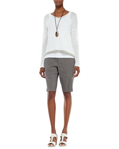 Eileen Fisher Linen Colorblock Box Top,  Slim Tank & Linen-Blend Walking Shorts