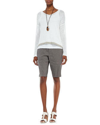 Linen Colorblock Box Top, Slim Tank & Linen-Blend Walking Shorts