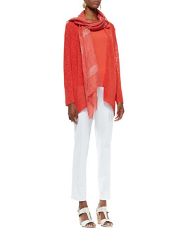 Eileen Fisher Melange Linen-Blend Cardigan, Silk Jersey Tank, Organic Stretch Slim Twill Trousers & Shimmery Striped Scarf