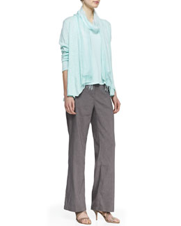 Eileen Fisher Linen Cotton Slub Cardigan, Silk Jersey Tank, Straight-Leg Trousers & Jacquard Scarf, Women's