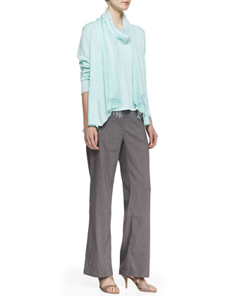 Linen Cotton Slub Cardigan, Silk Jersey Tank, Straight-Leg Trousers & ...