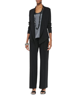 Eileen Fisher Interlock Open-Front Jacket, Charmeuse V-Neck Tank & Modern Wide-Leg Crepe Pants, Petite