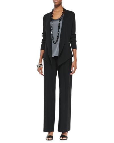 Eileen Fisher Interlock Open-Front Jacket, Charmeuse V-Neck Tank & Modern Wide-Leg Crepe Pants, Petite