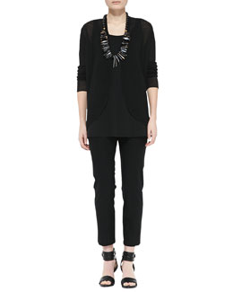 Eileen Fisher Open-Front Linen Cardigan, Silk Jersey Long Tunic Tank & Slim Crepe Ankle Pants, Petite