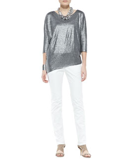 Eileen Fisher Shimmer Soft Asymmetric Top & Organic Denim Skinny Ankle Jeans