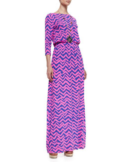 Lilly Pulitzer Nigella Printed Jersey Maxi Dress & On-the-Square Medallion Necklace