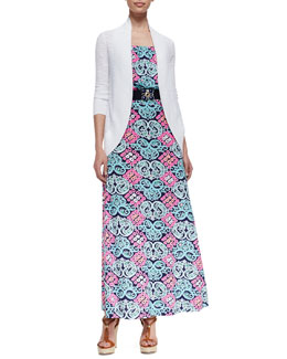 Lilly Pulitzer Amalie Longer Open Cardigan, Marlissa Printed Jersey Maxi Dress & Emmet Medallion Belt