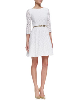 Lilly Pulitzer Lori XOXO Lace Dress & Leather Metallic Bow-Tie Belt