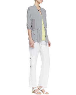 XCVI Yayoi Voile Jacket, Suki Slub 3/4-Sleeve Top & Fallon Ruched Cargo Pants