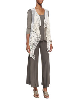 XCVI Arielle Long Lace Drape Vest, Suki Slub 3/4-Sleeve Top & Agate Wide-Leg Pants