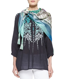Johnny Was Collection Brussels Embroidered Georgette Blouse & Blue Springs Printed Scarf