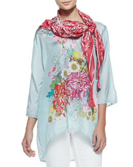 Johnny Was Collection 3/4-Sleeve Silk Tunic &   Bandana Print Silk Scarf