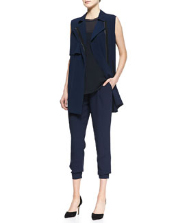 Vince Front-Zip Trench Vest, Sheer Sleeveless Loose Tank & Cropped Crepe Harem Pants