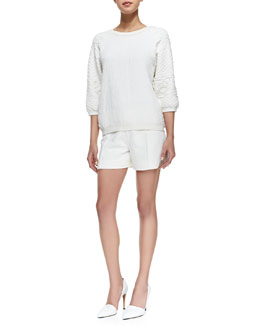 Vince Puff-Sleeve Jacquard Sweatshirt & Pintucked Relaxed Jacquard Shorts