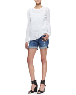 Vince Solid-Trim Mesh Sweatshirt & Mason Distressed Cuffed Denim Shorts