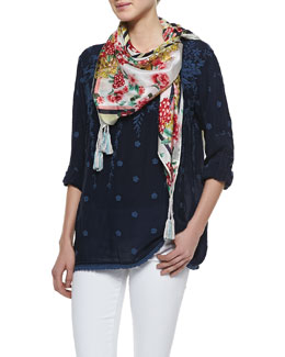 Johnny Was Collection Goldie Embroidered Georgette Tunic & Jasper Printed Silk Georgette Scarf