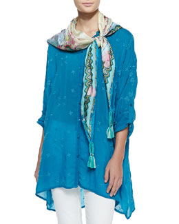 Johnny Was Collection Oversized Boyfriend Embroidered Silk Tunic & Kia Print Silk Square Scarf