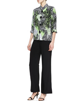 Caroline Rose Margarita Zebra Linen Jacket & Wide-Leg Stretch Pants