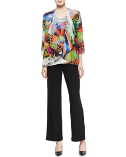 Caroline Rose Butterfly-Printed Draped Jacket, Butterfly-Printed Jersey Tank & Straight-Leg Knit Pants
