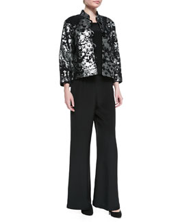 Caroline Rose Silver Splash Boxy Jacket, Silk Crepe Tank & Wide-Leg Pants, Women's