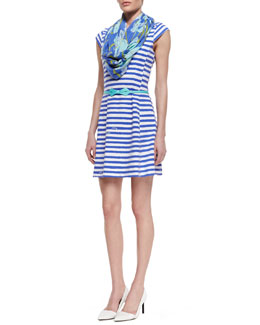 Lilly Pulitzer Briella Striped Ponte Dress, Grosgrain Bow-Tie Belt & Riley Printed Infinity Scarf