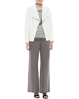 Eileen Fisher Soft Leather Boxy Jacket, Linen Corded Sheen Shell, Stretch Silk Jersey Tank & Silk Faux-Wrap Wide-Leg Pants