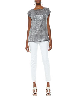 Eileen Fisher Sequin and Silk Top & Organic Skinny Ankle Jeans, Petite