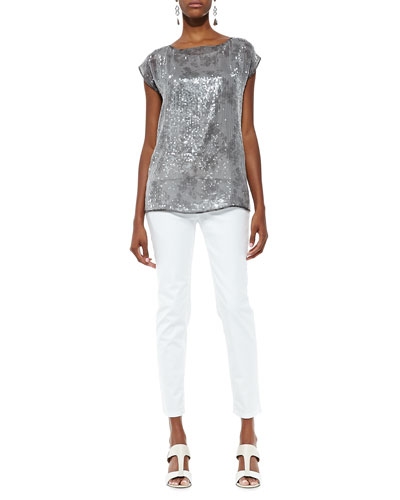 Sequin and Silk Top & Organic Skinny Ankle Jeans, Women