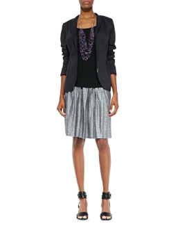Eileen Fisher Shawl-Collar Peplum Jacket, Silk Jersey Long Cami & Organic Linen Shimmer Skirt