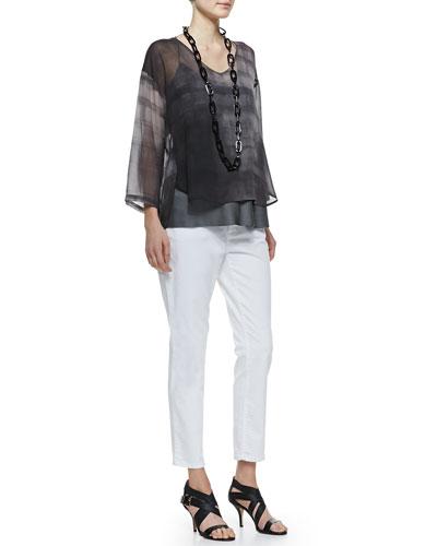 Eileen Fisher Printed Silk Chiffon Top, Silk Racerback Cami & Organic Denim Skinny Ankle Jeans