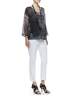 Eileen Fisher Printed Silk Chiffon Top & Organic Denim Skinny Ankle Jeans, Petite