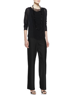 Eileen Fisher Paneled Mesh Long-Sleeve Top, Stretch Silk Jersey Tank, Black & Modern Crepe Wide-Leg Pants