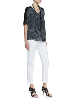 Eileen Fisher Printed Silk V-Neck Top & Organic Skinny Ankle Jeans, Women's