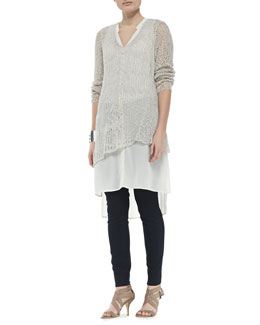Eileen Fisher Linen Mesh V-Neck Tunic, Silk V-Neck Long Dress & Stretchy Jean Leggings