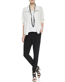 Eileen Fisher Silk Crepe de Chine Jacket, Silk Jersey Tank & Silk Ankle Pants with Cuffs
