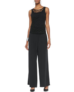 Eileen Fisher Linen Corded Sheen Shell, Jersey Long Cami & Silk Faux-Wrap Wide-Leg Pants