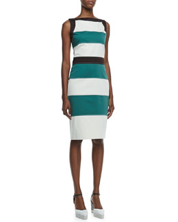 Carolina Herrera Sleeveless Horizontal-Stripe Shift Dress & Canvas Striped-Wedge Espadrille