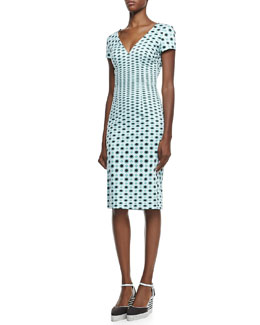 Carolina Herrera Short-Sleeve Dotted-Print V-Neck Dress & Canvas Striped-Wedge Espadrille