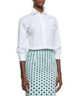 Carolina Herrera Basic Button-Front Shirt, Dotted-Print Pencil Skirt & Canvas Striped-Wedge Espadrille