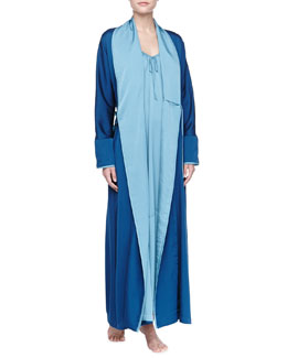 Donna Karan Mazarine Blue Laundered Long Satin Robe & Cerulean Sky Laundered Long Satin Nightgown
