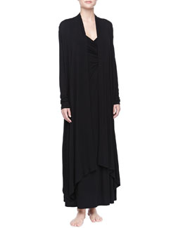 Donna Karan Liquid Jersey Wrap Robe & Liquid Jersey Long Gown, Black